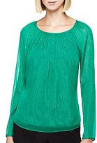JCPenney I 'Heart' Ronson® Pleated Lurex® Blouse