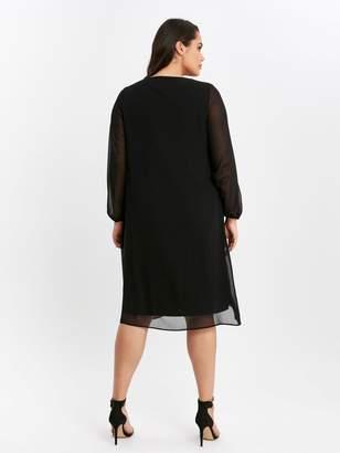 Evans Long Sleeve Black Split Front Dress - Black
