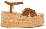 Gianvito Rossi Bebe 85 Crossover-strap Suede Wedge Sandals - Womens - Dark Brown
