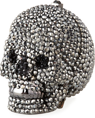 Judith Leiber Couture Skull Beaded Crystal Pillbox