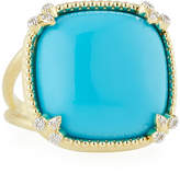 Jude Frances Turquoise Cushion Fleur Cocktail Ring w/ Diamonds, Size 6.5