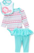 Buster Brown Aruba Blue & White Money Bodysuit & Bib Set - Infant