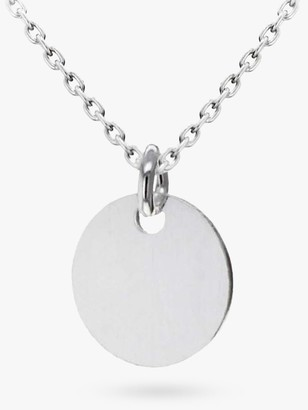 IBB Personalised Small Sterling Silver Disc Pendant Necklace, Silver