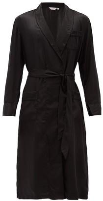 Derek Rose Woburn Striped Silk-satin Bathrobe - Black Multi