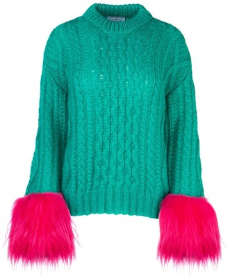 Prada Feathered Sleeve Cable Knit Sweater