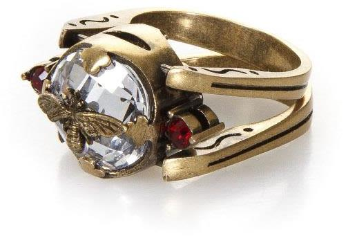 Christian Dior D Noir Antique Metal Ring With Iconic Bee