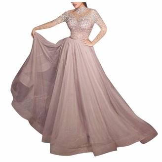 Younthone Elegant Lady's Evening Dress Sexy Lace Perspective Bronzing Long Sleeve Wedding Dress Women's High Waist Long Skirt Banquet Cocktail Ball Gown(Pink UK:10/M)