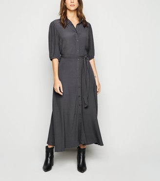 New Look Puff Sleeve Belted Midi Shirt Dress