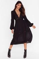 Nasty Gal Womens Maxi-mum Effort Lace Trim Dress - black - 6