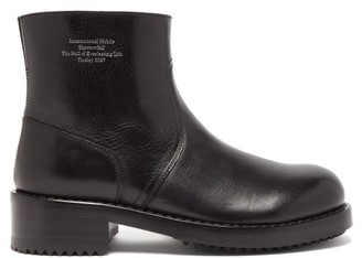 Raf Simons Debossed-text Leather Ankle Boots - Black