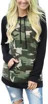 Aichatan Konater Thanth Women's Camouflage Print Pullover Hooded Sweatshirt L