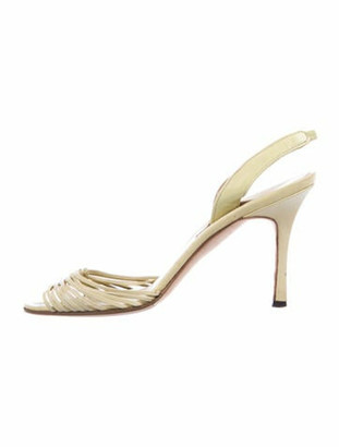 Manolo Blahnik Leather Slingback Sandals Yellow