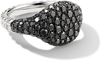 David Yurman 18kt white gold mini Chevron Pave black diamond pinky ring