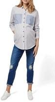 Topshop Patch Pocket Stripe Maternity Shirt