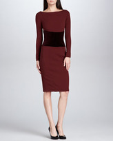 Zac Posen Velvet-Waist Satin-Back Crepe Dress, Bordeaux