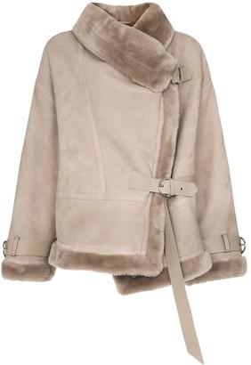 SHOREDITCH SKI CLUB Darling shearling and suede aviator jacket