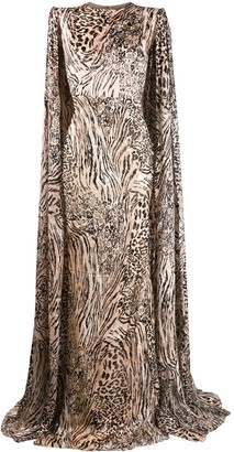 Alex Perry leopard print cape sleeve gown