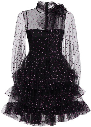 RED Valentino Glitter Polka Dot Tulle Mini Dress