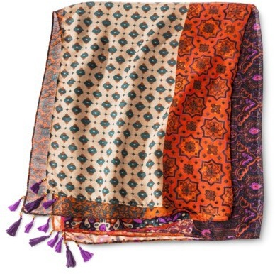 Merona Patchwork Print Scarf - Orange