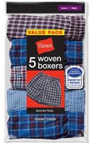 Hanes Men's 5-Pack Inside Exposed Waistband Woven Boxers