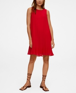 MANGO Women's Pleated Short Dress