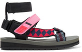 Prada Canvas, Leather And Rubber Sandals - Pink