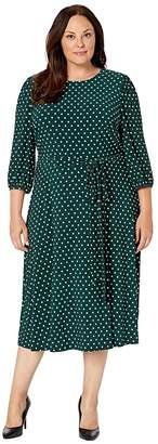Lauren Ralph Lauren Plus Size Printed Matte Jersey Felia w/ Sleeve 3/4 Sleeve Day Dress