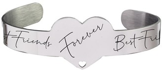 Inspirational Heart Cuff by Pink Box Best Friends Forever Silver