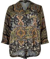 River Island Womens Plus black paisley print shirt
