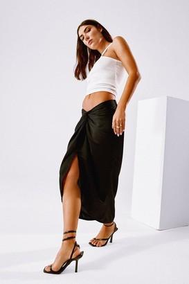 Nasty Gal Womens Truly Madly Deeply Satin Midi Skirt - Black