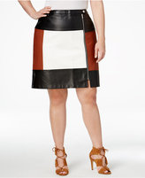 INC International Concepts Plus Size Faux-Leather Colorblocked Skirt, Only at Macy's
