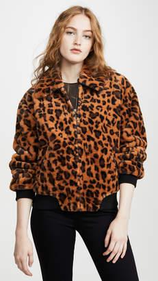 J.o.a. Leopard Faux Fur Bomber