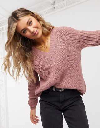 JDY v neck jumper in cable stitch in pink