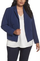 Sejour Plus Size Women's Crop Open Front Blazer