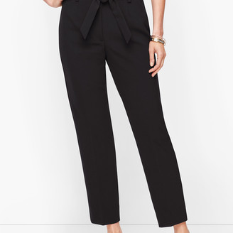Talbots Stretch Crepe Tie Waist Pants - Solid