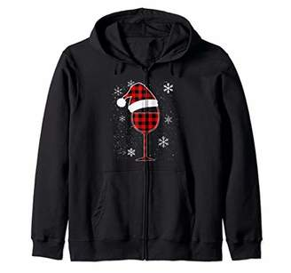Buffalo David Bitton Wine glass Red plaid Christmas Hat wine lover Zip Hoodie