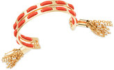 GUESS Gold-Tone Red Faux Suede Woven Cuff Bracelet