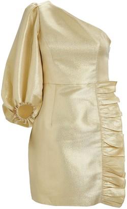 Shona Joy Luna One-Shoulder Lurex Dress