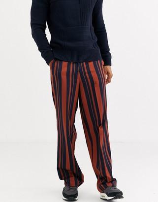 ASOS DESIGN high waisted wide leg smart pants in navy and orange stripe