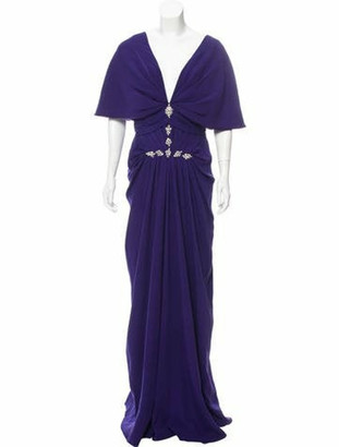 J. Mendel Embellished Silk Dress Violet