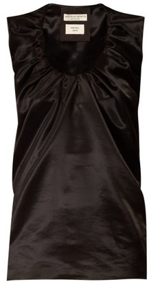 Bottega Veneta Gathered Scoop-neck Satin Top - Womens - Black
