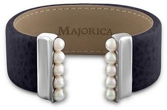 Majorica New Isla 5MM Organic Pearl & Leather Open Bangle/Navy