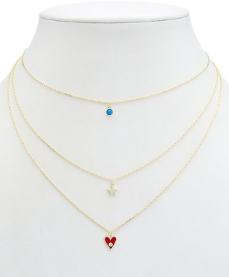 Alanna Bess Limited Collection 14K Over Silver Cz Star Necklace