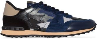 Valentino blue Garavani Rockstud Rockrunner Camouflage Leather Sneakers