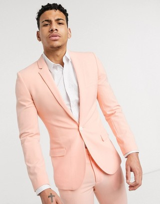 ASOS DESIGN super skinny suit jacket in neon peach in four way stretch
