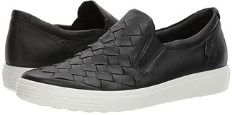 Ecco Soft 7 Woven Slip-On (Black Cow Leather/Cow Nubuck) Women's Slip on Shoes