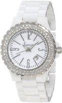 Freelook Women's HA5110-9A White Ceramic Stainless Steel Swarovski Bezel Watch