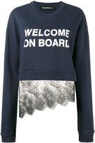 Filles a papa 'welcome on board' lace sweatshirt - women - Cotton/Polyamide - 1