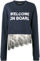 Filles a papa 'welcome on board' lace sweatshirt - women - Cotton/Polyamide - 2