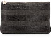 Deux Lux Coquette Crystal-Stripe Zip Pouch, Black